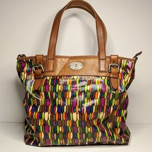 Fossil Key-Per Canvas Coated Leather Trim Tote